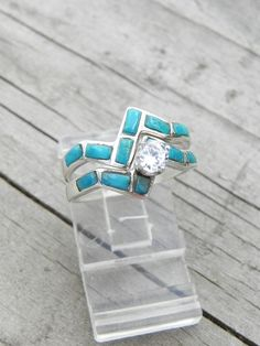 Turquoise Wedding Ring Set by hollywoodrings on Etsy, $145.00