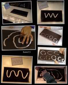 """Mark making in loose tea on the lightbox (free printable pattern cards) from Rachel ("""",) Kids handwriting fun Writing Area, Pre Writing, Writing Table, Nursery Activities, Activities For Kids, Rainy Day Games, Finger Gym, Dear Zoo, Funky Fingers"""