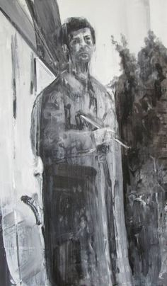Self-portrait with brush