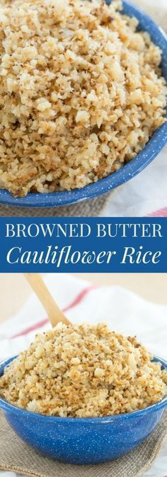 Browned Butter Cauliflower Rice - a simple, family favorite side dish recipe that is super easy, naturally gluten free, low carb, and paleo-friendly | http://cupcakesandkalechips.com