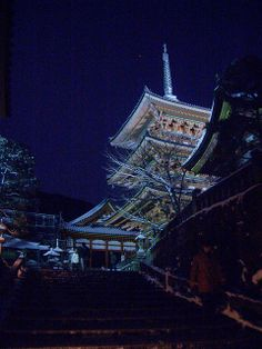 Kiyomizu-dera by night, Kyoto, Japan