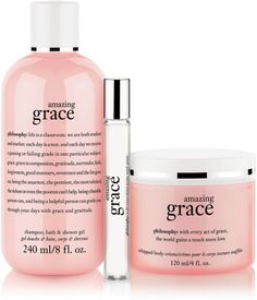Smell and feel amazingly clean and beautifully feminine with this Amazing Grace Set by Philosophy. The clean floral scent of Amazing Grace allows you to embrace your beauty and express your femininity. Amazing Grace Shampoo Shower Gel & Bubble Bath cleanses and conditions skin and hair for a luxurious bath or shower experience. The Whipped Body Crème will melt onto your skin to improve its softness. Layer with the Amazing Grace spray fragrance rollerball for a finishing touch.