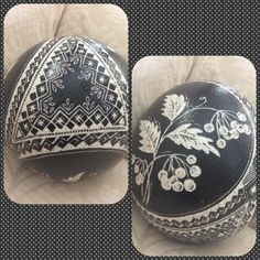 Scratched ostrich egg by Stephanie Troy, posted to Pysanky USA