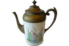 """""""Cast pewter pitcher with porcelain body in hand-painted heron decoration."""""""