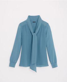 Primary Image of Silk Tie Neck Blouse