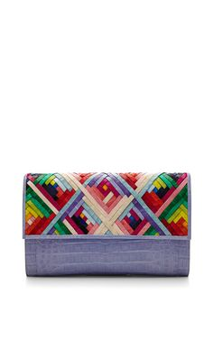 Shop Rainbow And Lavender Crocodile Skin Clutch. This clutch by **Nancy Gonzalez** features a brightly colored woven crocodile pattern front flap with a lavendar base. Diy Bags Purses, Kate Spade, Fabric Handbags, Nancy Gonzalez, Boho Bags, Cool Necklaces, Little Bag, Luxury Bags, Beautiful Bags