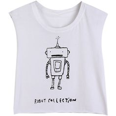 Choies White Sleeveless Robot Print Cropped T-shirt ($13) ❤ liked on Polyvore featuring tops, t-shirts, shirts, white, t shirts, white crop tee, white sleeveless shirt, sleeveless crop top and white tee