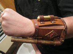 Leather Steampunk bracer with copper 'gun'  Armmount by Zolgar.