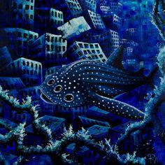 RW2 Eco Marine Whale Shark Shower Curtain Cloth Art by RW2Gallery, $49.00