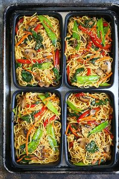 Lo Mein Meal Prep - Save time, money and calories when you prep for the entire week! Made SKINNY with whole wheat spaghetti and chockfull of veggies!