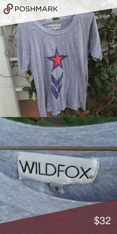 Wildfox small soft grey army star shirt blouse tee Worn and washed 2-3 times Wildfox Tops Blouses