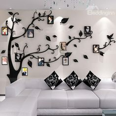 Unitendo Black Wall Stickers Photo Frames FamilyTree Wall Decal Easy to Install &Apply DIY Photo Gallery Frame Decor Sticker Home Art Decor (Black leaves-Left, L) Family Tree Mural, Family Wall Decor, Tree Wall Decor, Diy Room Decor, Art Decor, Tree Wall Murals, Tree Wall Art, Tree Art, Creative Wall Decor