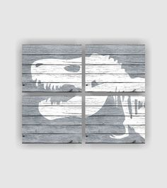 Dinosaur silhouette Digital Art Print, Rustic Dinosaur skeleton, Gray and White… Dinosaur Silhouette, Silhouette Art, E Room, Kids Room, Boys Dinosaur Bedroom, Dinosaur Skeleton, Historical Art, Baby Boy Rooms, Wall Art Sets