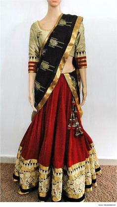 Ethnic Half Saree Designs #HalfSareeDesigns