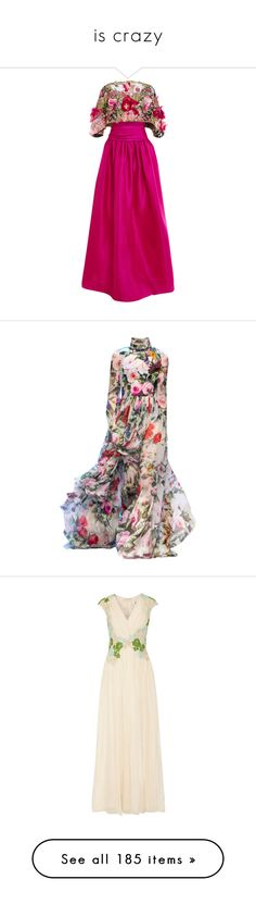 """""""is crazy"""" by sil-engler ❤ liked on Polyvore featuring dresses, gowns, gowns pink, marchesa, embroidered dress, silk dress, pink dress, pink gown, floral gown and satinee"""