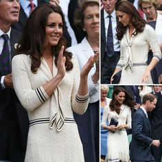 Kate Middleton wearing Alexander McQueen at Wimbledon 2012. I love the preppy sailor look in the soft cream knit.