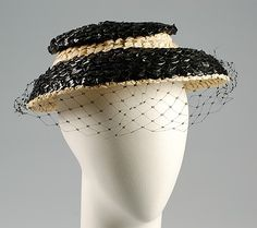 Black and white straw hat with silk net veil, by Madame Lucienne for Caroline Reboux, French, ca. Vintage Purses, Vintage Hats, 1940s Fashion, Vintage Fashion, Caroline Reboux, Make Do And Mend, Paris Mode, Body Adornment, Costume Collection