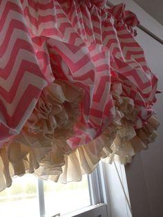 Pink and Cream Chevron Double Ruffle Balloon Valance Window Drapes, Window Coverings, Drapes Curtains, Window Treatments, Chevron Valance, Balloon Valance, Double Ruffle, Little Girl Rooms, Diy Room Decor
