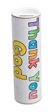 """Thanks Banks - Encourage kids to give joyfully with these Thanks Banks. Includes heavy cardboard tubes, plastic stoppers and preprinted bank covers. 2"""" x 6""""."""