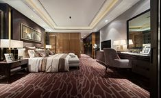 STEVE LEUNG DESIGNERS - Hotel suite. Gorgeous plum, gold and ivory.