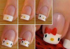 ❀ Ongles hello kitty ❀ Plus Ongles Hello Kitty, Love Nails, Pretty Nails, Nail Diamond, Cat Nails, Manicure At Home, Nail Art Diy, Cute Nail Designs, Nail Tutorials