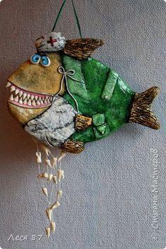 Поделка изделие Лепка Папье-маше Рыба стоматолог Бумага Картон Фарфор холодный фото 5