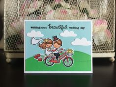 Bicycle Built For You stamp set from Lawn Fawn.  Card by Mocha Frap Scrapper