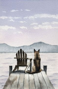GERMAN SHEPHERD Dog Art Print Signed by Artist DJ by k9artgallery, $12.50