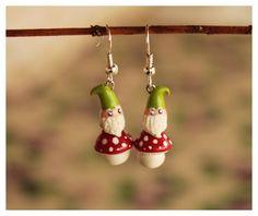 Gnome Earrings Polymer Clay/ Orecchini Gnometto Fimo