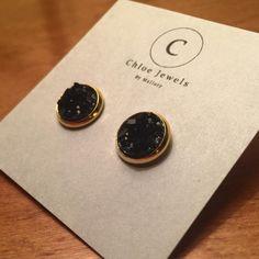 10mm+stud+earrings Black+druzy+stone+in+gold+setting