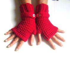 Fingerless gloves  red crochet  gloves cozy gloves by GlovesShop, $18.00