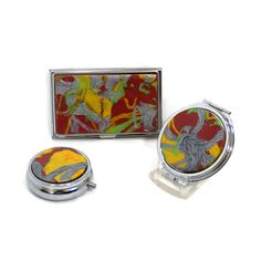 Lush tropical colors deep red green silver yellow by PolyClayCafe, $12.00