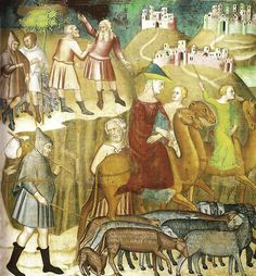 Bartolo di Fredi, Abramo si divide da Lot nella terra di Canaan, affresco, Duomo, San Gimignano  14th centurysheepcarry-cloth on pole