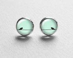 Mint Bird Earring Studs, Bird On Wire Earring Posts, Valentines Day Gift, Bird Stud Earrings, Earrings with Birds E100 on Etsy, ¥1,063.83