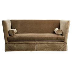 Carlisle Skirted Sofa, Mink Velvet