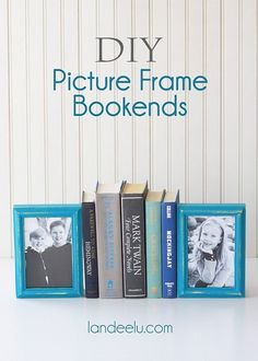 Organize and Dress up your shelf by DIY Picture Frame Bookends by DIY Ready at http://diyready.com/11-diy-bookends-to-dress-up-your-shelf