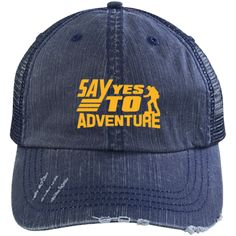 """""""I hike to burn off the crazy"""" Distressed Unstructured Trucker Hats: herringbone cotton front, polyester mesh back Unstructured, six-panel, low-profil Custom Big Rigs, Thick Thighs, My Vibe, Going Home, Love And Light, Herringbone, Baseball Cap, Black And Grey, Trucker Hats"""