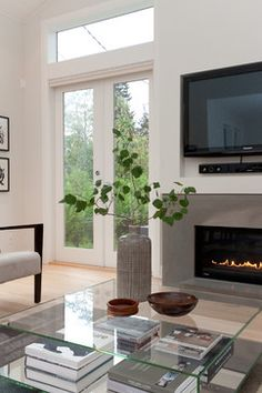 Linear Gas Fireplace Design Ideas, Pictures, Remodel and Decor tv components Linear Fireplace, Fireplace Ideas, Fireplace Surrounds, Fireplace Design, Gas Fireplace, Tv Decor, Decor Ideas, Living Room Designs, New Homes