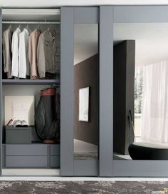 Closet doors are vital, however usually forgotten when it involves space design. Produce a face-lift for your room with these closet door ideas. It is essential to create distinct closet door ideas to beautify your home style. Modern Closet Doors, Mirror Closet Doors, Sliding Wardrobe Doors, Wardrobe With Mirror, Mirrored Sliding Closet Doors, Ikea Closet Doors, Sliding Wall, Modern Wardrobe, Wardrobe Images