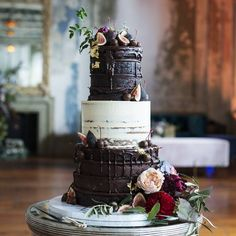 """Miss Ladybird Cakes (@missladybirdcakes) on Instagram: """"This stunning cake from the weekend! Big luscious layers of black forest cake with a middle tier of citrus lemon myrtle decorated with figs, chocolate dipped cherries and gold leaf!  How about that? #chocolateweddingcake"""