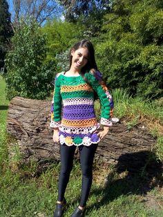 Sueter crochet, trabajo super elaborado de Ando Diseños!