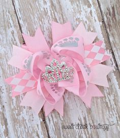 Pink princess crown bow rhinestone hairbow by sweetcheekbowtique, $9.49