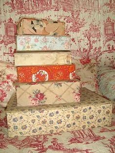 Pile of boxes with French vintage textiles