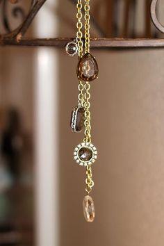 Antique Bronze Vintage Rhinestone Charm Necklace