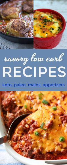 Here's a collection of savory low carb recipes that I've shared on my blog over the years. There's a ton of variety in this post including meatless recipes, beef, seafood, chicken, appetizers and main dishes. Some are keto and paleo compliant.