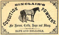 Sinclair's Condition Powders for Horses, Cattle, Hogs and Sheep - Safe and Reliable - Advert published in the 1880s via graphicsfairy