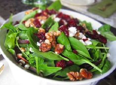 ANYTIME!!!!!! YES! Cranberry and walnuts on a bed of spinach salad,