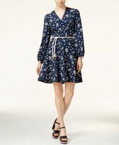 TOMMYXGIGI Silk Nautical-Print Fit & Flare Dress