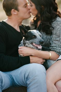 We love when couples include their pups in their engagement shoot! image: Walking Eagle Photography