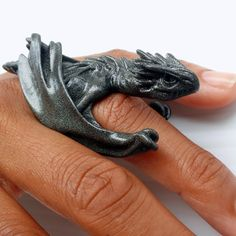Two-Claw: Horntail Dragon Ring - Medieval Sculpted Resin Jewelry. via Etsy. very cool.